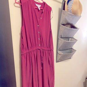 Button up dress plus size pink 16